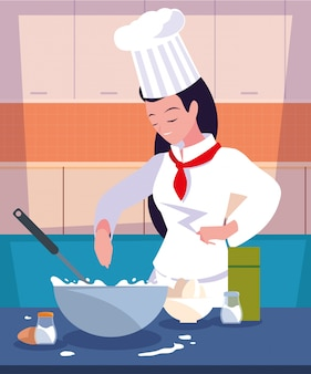 キッチン料理のプロのシェフ女性
