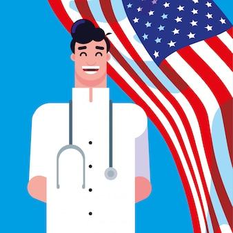 アメリカの旗を持つ医師男