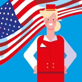 Женщина-стюардесса с флагом сша