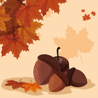 こんにちは、ナッツと葉の秋イラスト