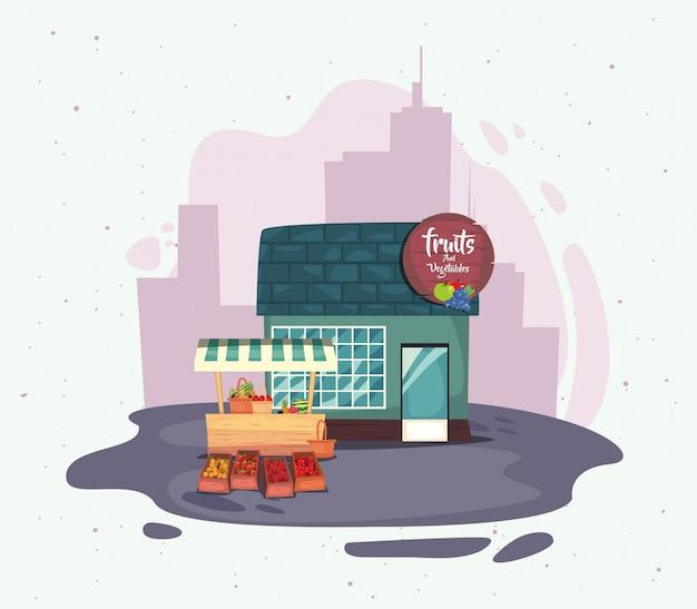 ストリートマーケットコマースフラットデザイン