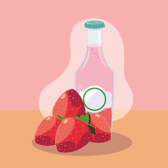 自然ジュースのボトルと新鮮なイチゴ