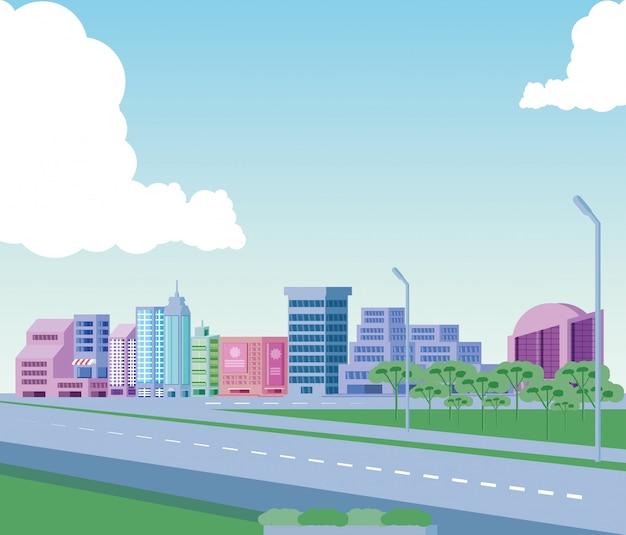 道路と都市景観の建物シーン日