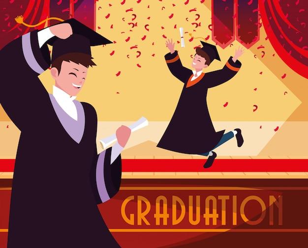 お祝いの学生を卒業