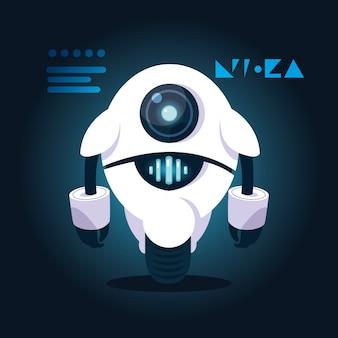 Технология робот мультфильм над синим