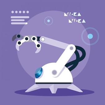 Технология робота мультфильм над фиолетовым