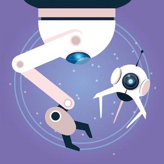 紫色の技術ロボット漫画