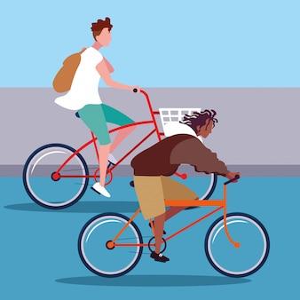 Молодые люди езда на велосипеде аватар персонажа