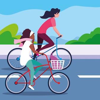道路で自転車に乗る若い女性