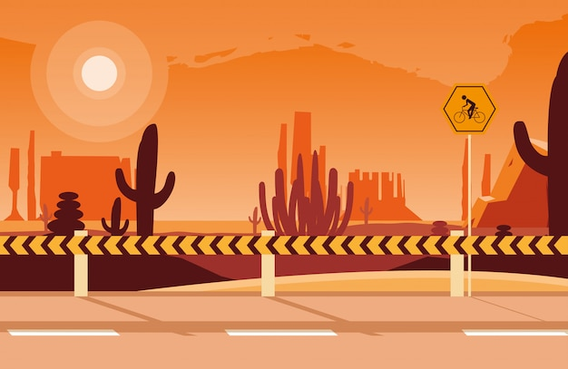 Пустынный пейзаж сцена с вывесками для велосипедиста