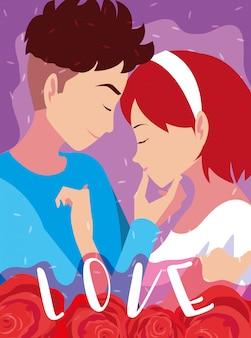 Молодая пара в любви постер с розами украшения