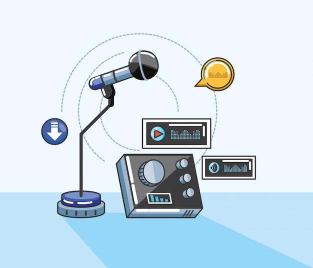 デジタルオーディオスタジオのガジェット付きマイク