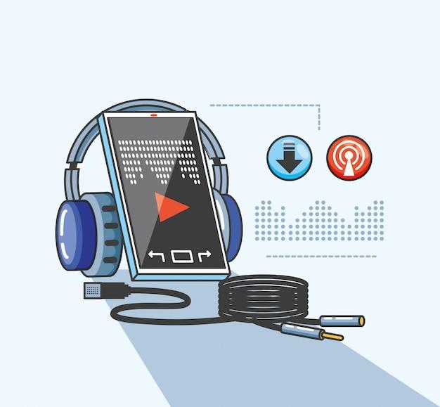 デジタルオーディオスタジオのデバイスを搭載したスマートフォン