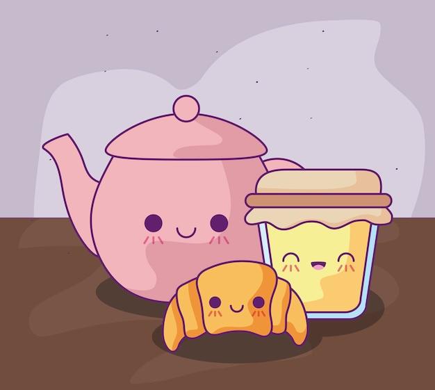 Милый чайник с вкусной едой в стиле каваи