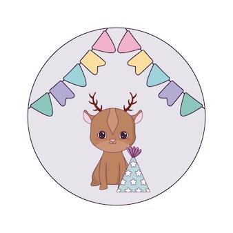 帽子パーティーと花輪のかわいいトナカイ動物