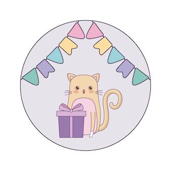 ギフト用の箱と花輪のかわいい猫動物