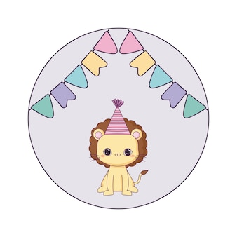 帽子パーティーと花輪のかわいいライオン