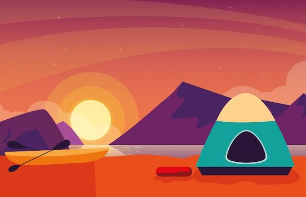 Зона кемпинга с закатом в палатке