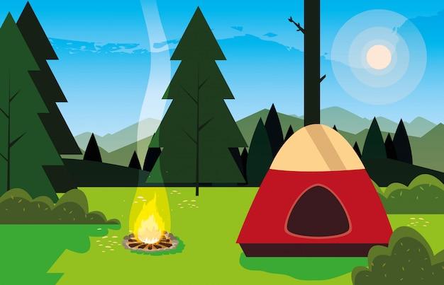Зона для кемпинга с палаткой и костром, дневной пейзаж