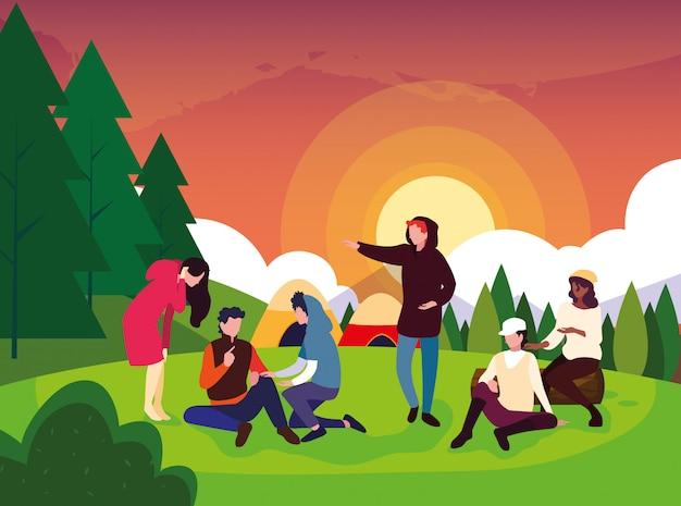 テントの日の風景とキャンプゾーンのキャンピングカー