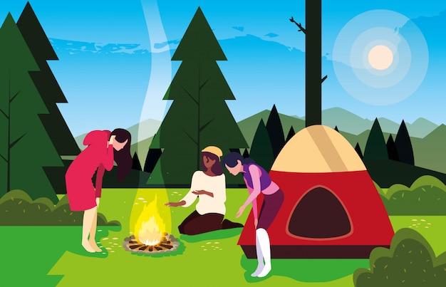 Отдыхающие в кемпинге с палаткой и костром, дневной пейзаж