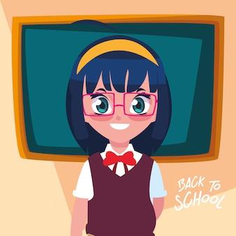 学校に戻ってかわいい学生少女