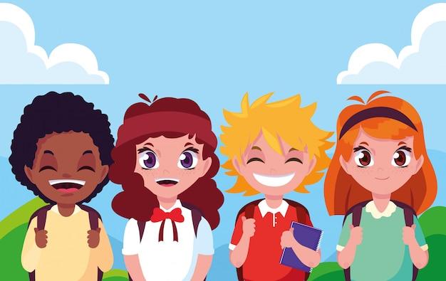かわいい小さな学生グループのアバターキャラクター