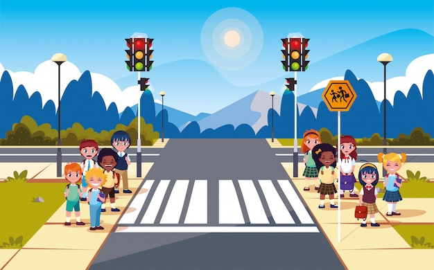 交通信号とかわいい学生の道路通りのシーン