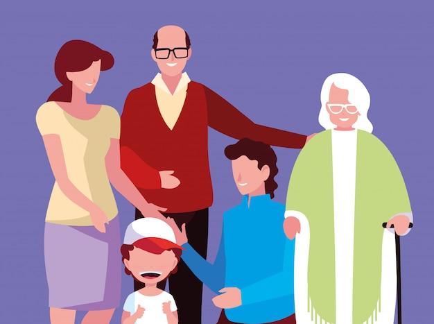 Симпатичные члены семьи аватар персонажа