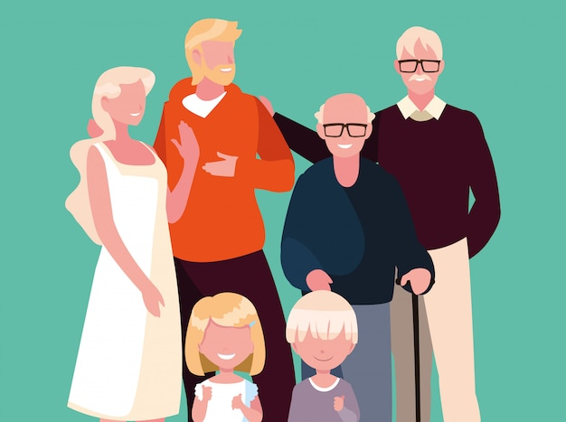 かわいい家族のアバターキャラクター