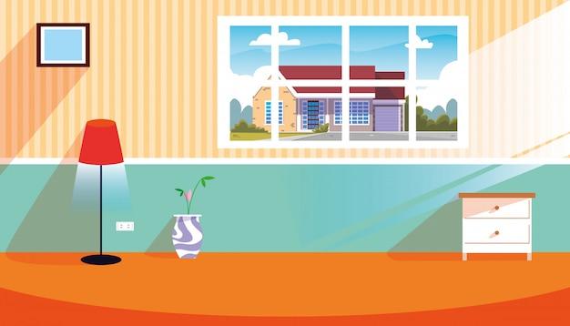 窓と装飾のあるシーンの中の家
