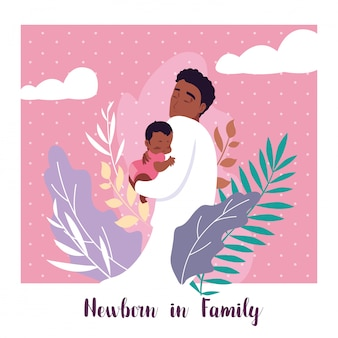 Новорожденный в семейной карточке с папой афро и маленьким сыном