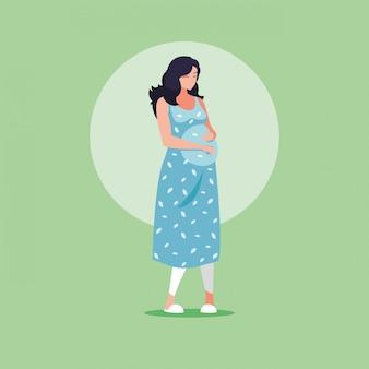 妊娠中の女性のアバターキャラクターアイコンベクトル小話