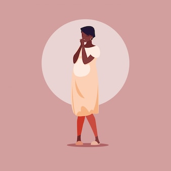 Беременная афро женщина аватар персонажа
