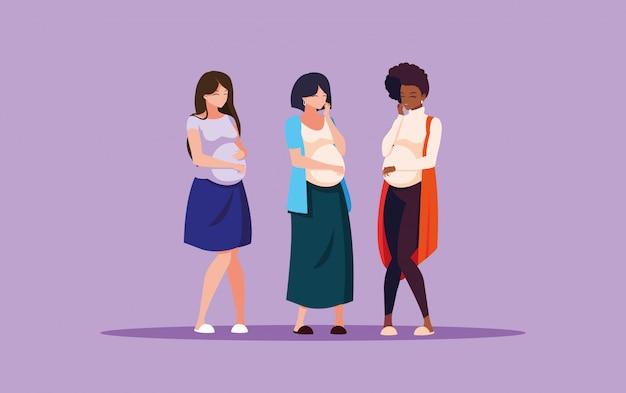 Беременная группа женщин аватар персонажа