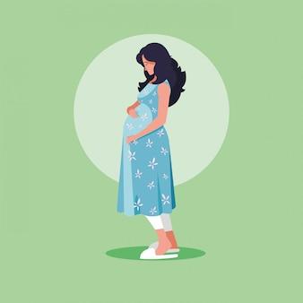 Беременная женщина аватар персонажа значок вектор иллюстрация