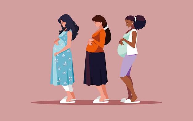 妊娠中の女性のアバターキャラクターのグループ