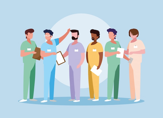 Группа врачей с единообразным аватарным характером