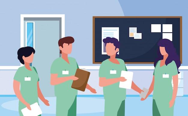 Группа профессионалов врачей в больнице