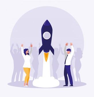 ロケットのスタートアップで祝うビジネス人々