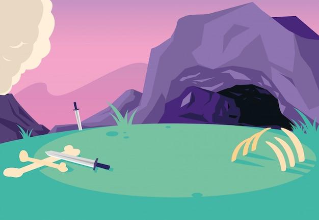 Сказочный пейзаж с кабиной и мечами