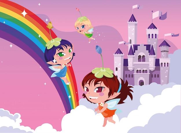 雲と空の城のおとぎ話の妖精