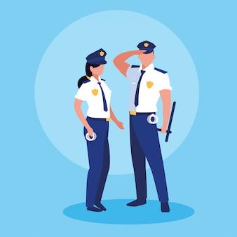 Пара полицейских офицеров аватарного характера