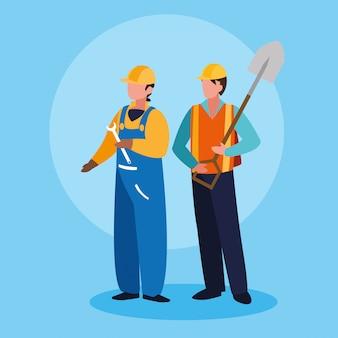 労働者の男性アバターキャラクターのグループ