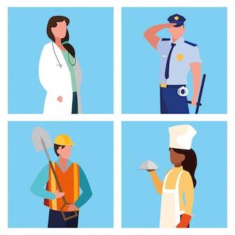 Доктор женский с группой профессионалов