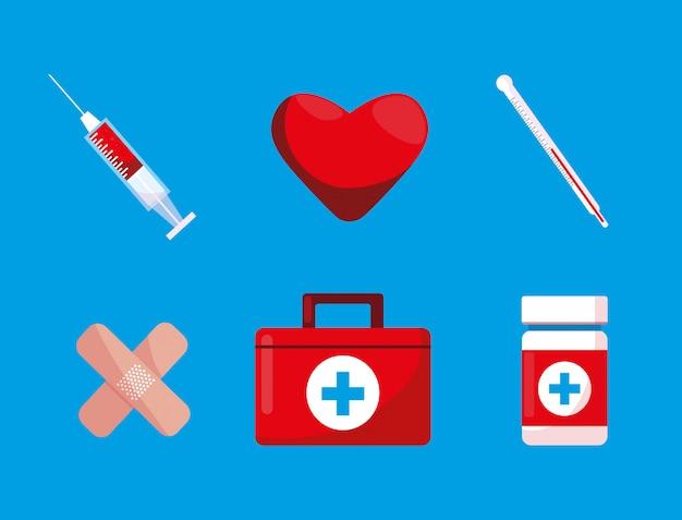 Аптечка первой помощи с набором иконок