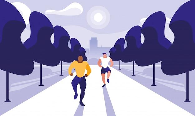 Молодые люди бегут на улице