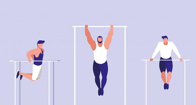 Молодые люди занимаются гимнастикой в барах