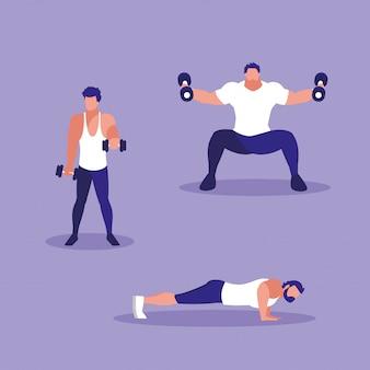 スポーツを練習する運動男性のグループ