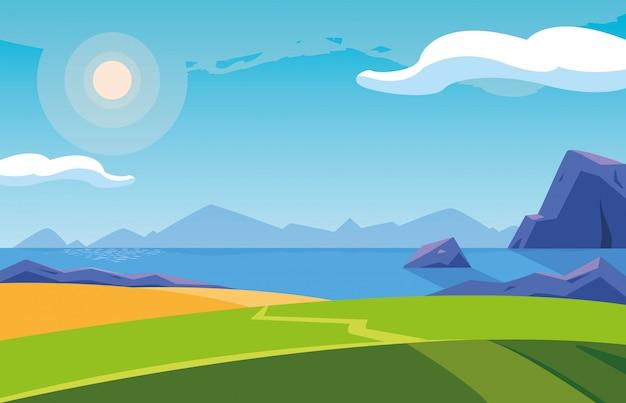 湖のシーンアイコンのある風景